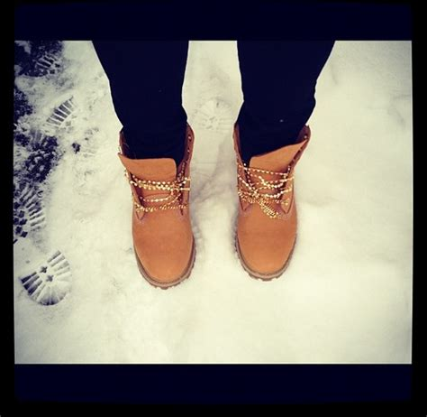 gold chain lace up timberland boots timberlands style
