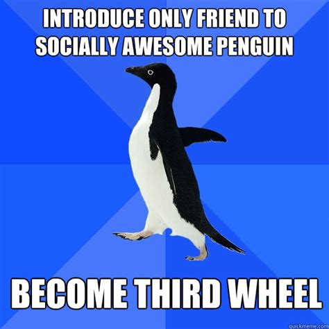 Awkward Penguin Meme - introduce only friend to socially awesome penguin become