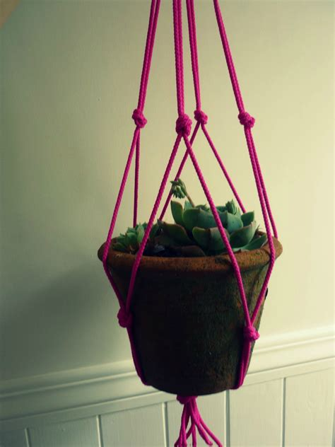 Macrame Pot Holder - neon string macrame plant pot holder felt