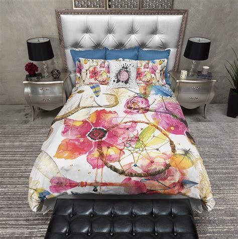 flower skull comforter boho watercolor flower skull duvet bedding sets ink