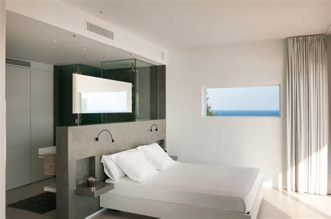 open plan bedroom bathroom dressing area interior design