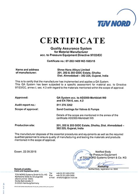 quality certificate template shree hans alloys limited