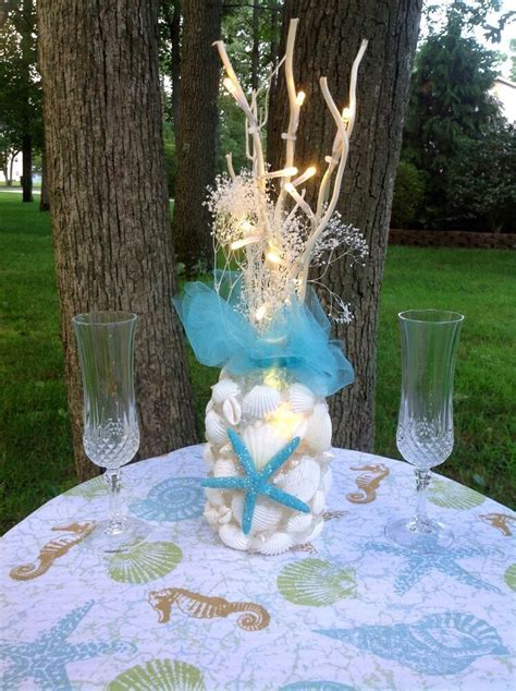 Turquoise Seashell Light Up Centerpiece   eBay