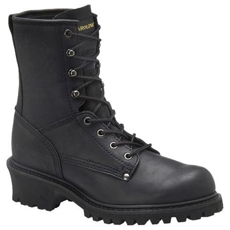s carolina 174 8 quot steel toe logger boots black 133157