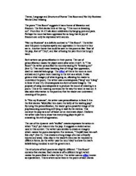 Poetry Essay Structure by Gcse Poetry Essay Plan Writefiction581 Web Fc2