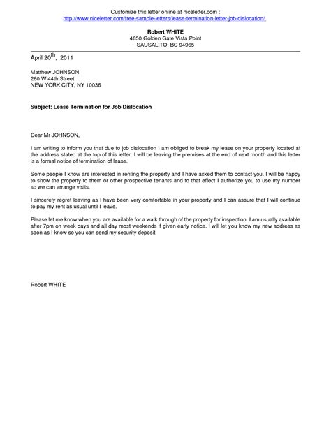 Tenancy Termination Letter Sle Singapore termination letter sle canada 28 images notice of