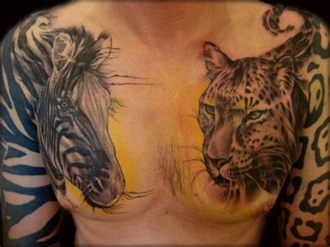 zebra tattoo ink great realistic color ink zebra and jaguar heads tattoo on