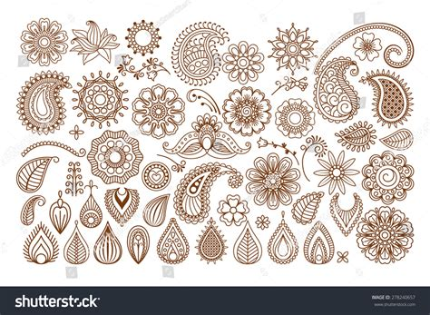 henna tattoo doodle vector elements on stock vector