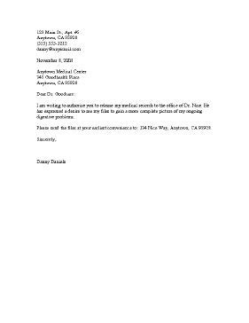 Patient Consent Letter a letter template authorizing one physician to release the