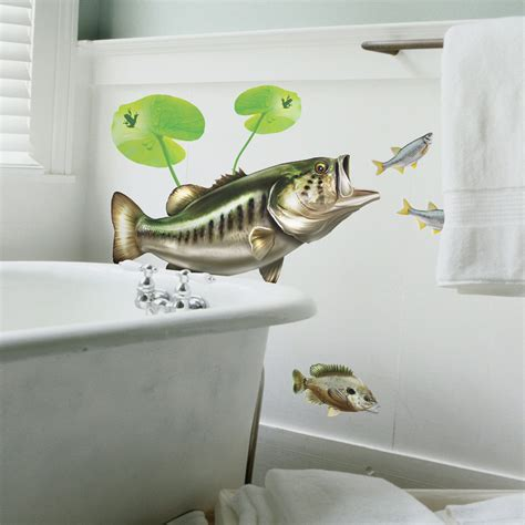 bass fishing bathroom decor largemouth bass wall decal bold wall art