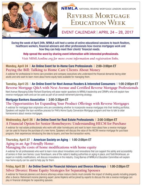 Mortgage Calendar Calendar Of Events Mortgage Education Week Nrmla