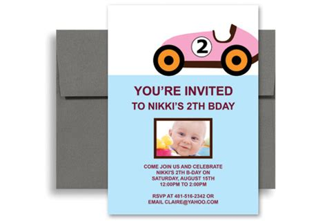 2 year birthday card template two year pink car blank birthday invitation 5x7