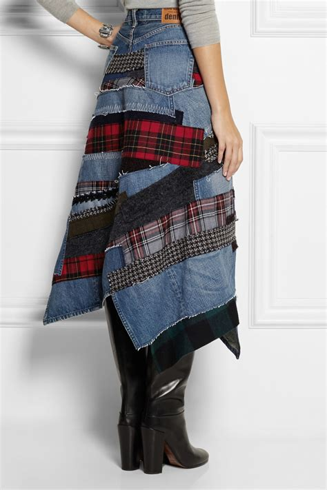 Patchwork Skirts - junya watanabe patchwork denim midi skirt in blue lyst