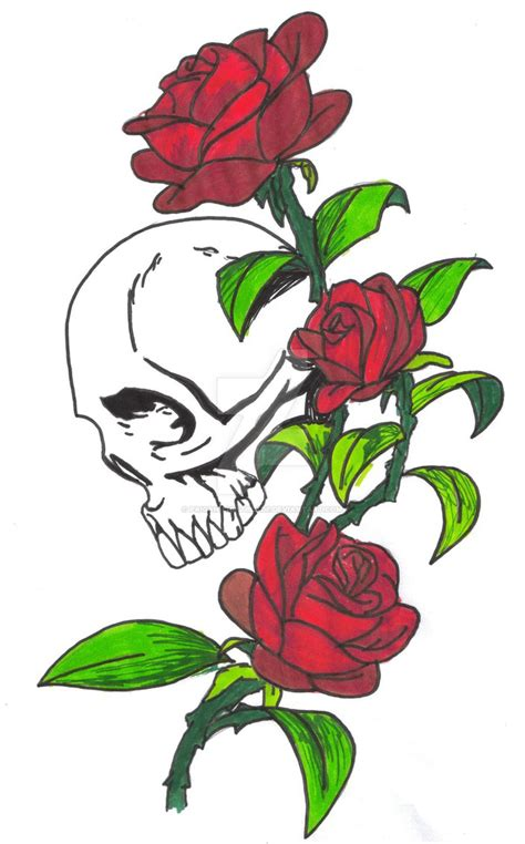skull and roses by paigan lightblade on deviantart
