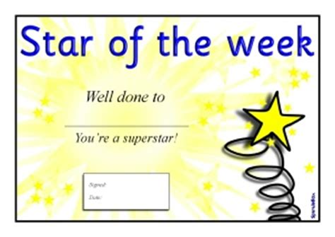 printable star of the week form primary school star of the week certificates and awards
