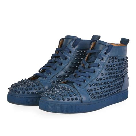 Christian Louboutin Spike Sneakers by Christian Louboutin Leather Louis High Top Spike Sneakers Blue S 41 7 5 Luxity