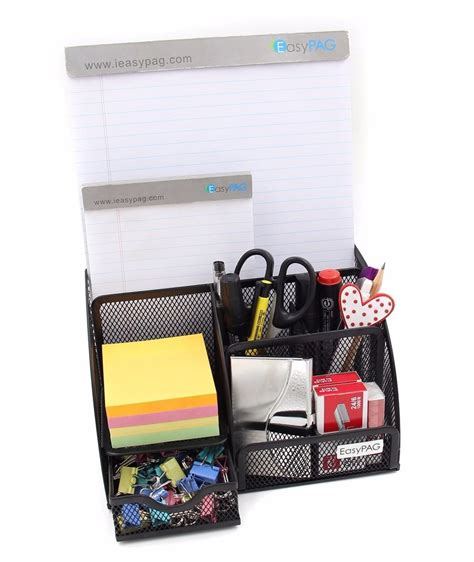 Easypag Mesh Desk Organizer 6 Compartment Office Supply Desk Supplies Organizer