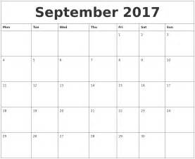 september 2017 month calendar template