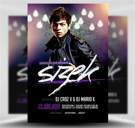 flyer design dj sizek dj flyer template flyerheroes