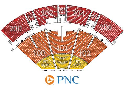pnc seating chart pnc pavilion seating chart arts entertainment