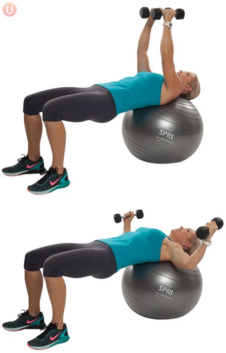 stability ball chest fly