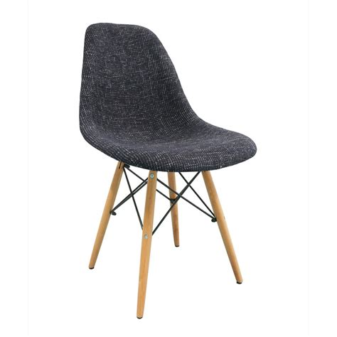 wood chair material black fabric upholstered eames style dsw shell chair with