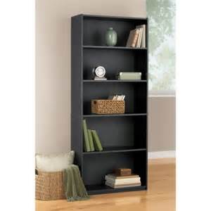 Cheap Black Bookshelf Mainstays 5 Shelf Bookcase Black Walmart