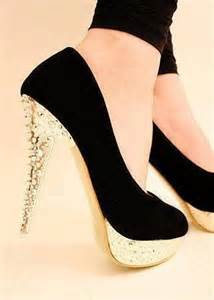 gold black heels shoes picture