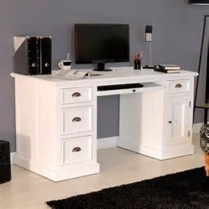 bureau en bois massif blanc homeandgarden