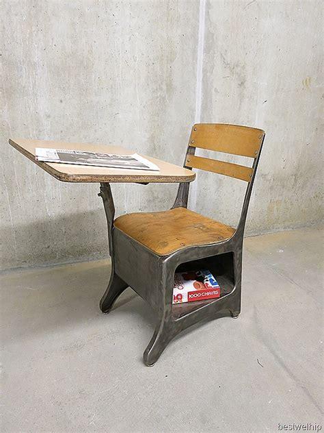 vintage stoel schoolbank industrieel  school desk chair industrial bestwelhip