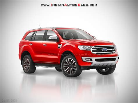 ford endeavour  ford everest red front  quarter angle rendering