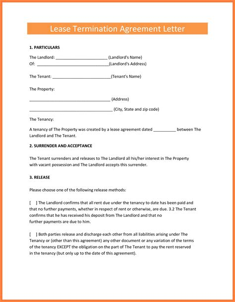 Lease Termination Agreement Exle 8 Termination Of Rental Agreement Letter By Tenant Purchase Agreement