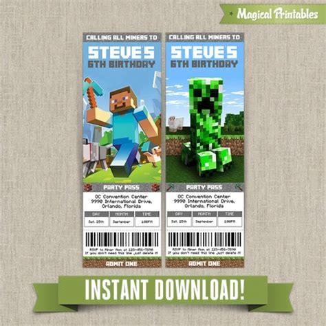 minecraft birthday ticket invitations instant download