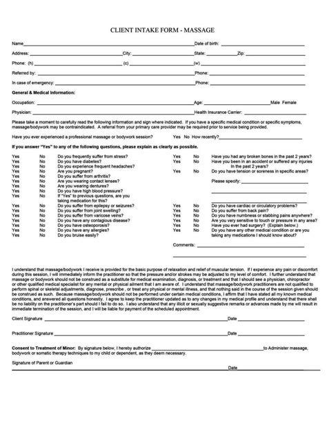 therapy consultation form template therapy client consultation form template