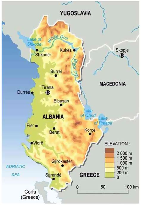 map of albania physical map of albania albania physical map vidiani maps of all countries in one place