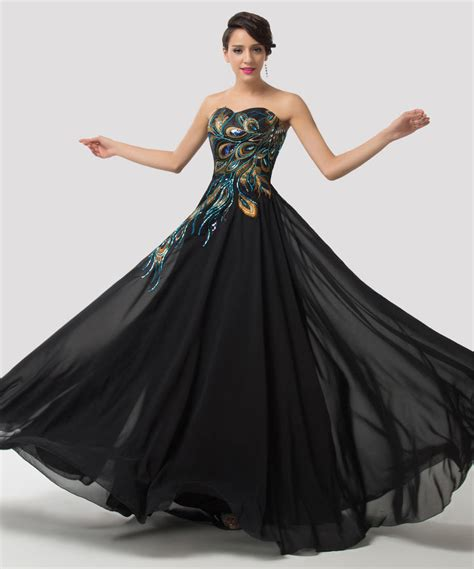 ebay evening dresses plus size peacock long strapless bridesmaid formal