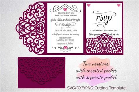 Tri Fold Wedding Invitation Pocket Envelope Svg Template Tri Fold Lace Pocket Envelope Laser Tri Fold Wedding Invitation Templates