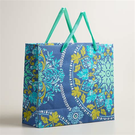 Handmade Craft Bags - large blue zoom medallion handmade gift bag world
