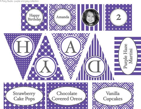 free printable birthday banner purple not too barney ish birthday party a party studio