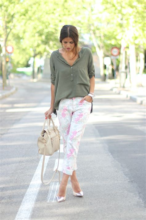 Light Grey Pants Feminine Floral Trousers Leggings Your Essential Fashion