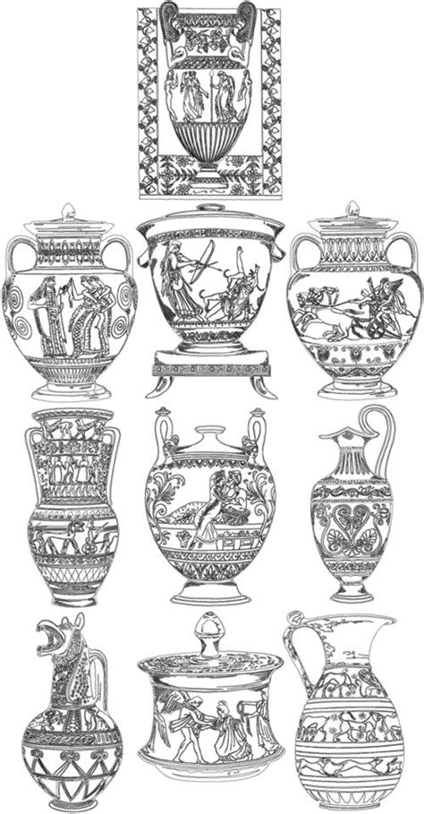 Ancient Vase Patterns by Advanced Embroidery Designs One Color Ancient Vase Set