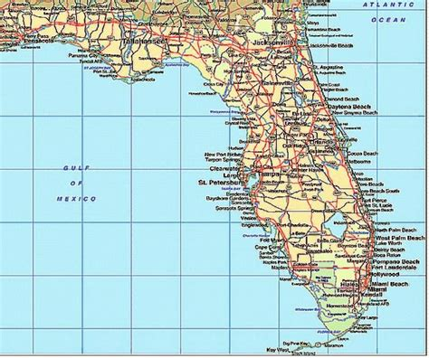 florida map beaches florida map with cities and beaches images