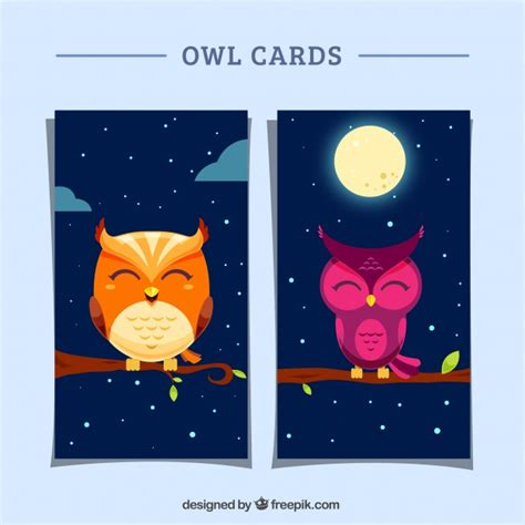 greeting card template with cute owl vector free download greeting cards with cute owls in flat design vector free