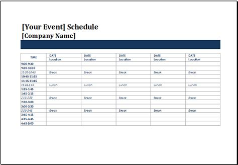 events schedule template ms excel five day event schedule template excel templates