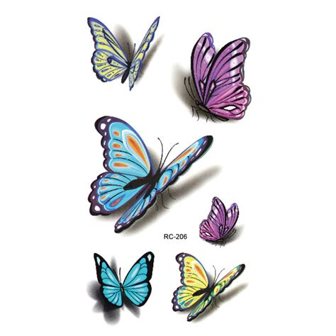 colorful butterfly 3d temporary tattoo body art flash