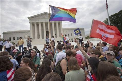 supreme court ruling on marriage the crowd reacts as the ruling on same marriage was