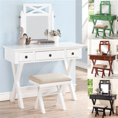 Large Makeup Vanity Table by Cottage White Black Green Cherry 3pc Large Mirror Make Up Table Bench Vanity Set Ebay