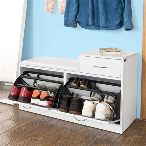 shoe storage with drawer sobuy 174 shoe cabinet shoe storage bench with padded seat