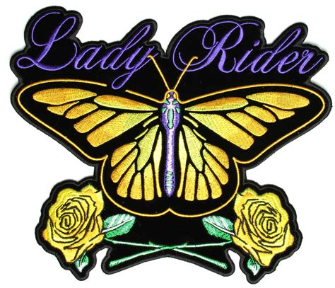 Patchwork Patches - yellow butterfly rider with roses large back patch