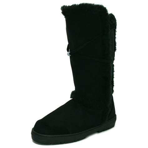 womens black fur suede style knee high flat boots from